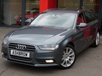USED 2015 64 AUDI A4 AVANT 2.0 TDI SE TECHNIK 5d AUTO 177 S/S 1 OWNER FROM NEW, FULL AUDI SERVICE HISTORY,UPGRADE(U/G) REMOVABLE TOWBAR,U/G AUTO DIMMING ELEC POWER FOLDING HEATED MIRRORS,U/G SPORTS LEATHER 3 SPOKE MULTI FUNCT STEERING WHEEL W/ PADDLE SHIFT,U/G ELECTRIC LUMBAR SUPPORT,U/G 6CD CHANGER,HDD NAV W/ JUKEBOX,DAB,BLUETOOTH W/ AUDIO STREAMING,FRONT+REAR PARKING SENSORS W/ DISPLAY,18 IN DYNAMIC ALLOYS,CRUISE,AUDI MUSIC INTERFACE,TYRE PRESSURE MONITORING SYSTEM,ELECTRIC TAILGATE,AUTO LIGHTS+WIPERS,SD READER X2,VOICE COMMAND,DIGI SPEED DISPLAY,VAT Q
