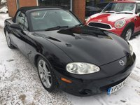 USED 2004 04 MAZDA MX-5 1.8 SPORT 2 DOOR 144 BHP CONVERTIBLE IN BLACK WITH BLACK LEATHER INTERIOR APPROVED CARS ARE PLEASED TO OFFER THIS LOVELY MAZDA MX5 1.8 SPORT 2 DOOR 144 BHP CONVERTIBLE IN BLACK WITH FULL BLACK LEATHER HEATED SEATS AND A FULL SERVICE HISTORY SERVICED AT 13K,17K30K,51K,56K AND 58K A GREAT EXAMPLE IN IMMACULATE CONDITION INSIDE AND OUT.