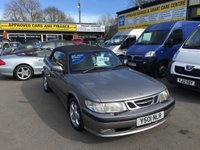 USED 2001 Y SAAB 9-3 2.0 SE TURBO ECO 2 DOOR 154 BHP CONVERTIBLE IN MET GREY WITH BREY LEATHER INTERIOR APPROVED CARS ARE PLEASED TO OFFER THIS SAAB 9-3 2.0 SE TURBO ECO 2 DOOR 154 BHP CONVERTIBLE IN MET GREY WITH GREY LEATHER INTERIOR IN IMMACULATE CONDITION AND ONLY 64805 MILES FROM NEW WITH A DOCUMENTED SERVICE HISTORY SERVICED AT 6K,23K,29K,38K,40K,48K,52K AND 59K A TRULY GREAT EXAMPLE WITH GREAT HISTORY BUT DUE TO ITS AGE IS BEING OFFERED AS A TRADE CLEARANCE CAR.