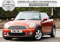 USED 2011 11 MINI CONVERTIBLE 1.6 ONE 2d 98 BHP +++ FREE 6 months Autoguard Warranty included in screen price +++