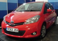 "USED 2012 62 TOYOTA YARIS 1.3 VVT-I SR 3d 98 BHP A very clean example of this highly sought after after small family hatchback,this car is finished in unmarked bright red coachwork contrasted with 16"" 8 spoke shadow chrome alloys.This car comes equiped with air conditioning ,bluetooth,satelite navigation,rear parking sensors plus all the usual refinements.this car looks and drives superbly definitely one to be concidered especialy with a combined mpg of 51.4"