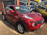 USED 2013 13 NISSAN JUKE 1.6 ACENTA PREMIUM 5 DOOR 117 BHP IN METALLIC RED WITH SAT NAV. APPROVED CARS ARE PLEASED TO OFFER THIS  NISSAN JUKE 1.6 ACENTA PREMIUM 5 DOOR 117 BHP IN METALLIC RED WITH BLACK CLOTH INTERIOR,SAT NAV AND MUCH MORE WITH A FULL NISSAN MAIN DEALER SERVICE HISTORY,A GREAT CAR AR A GREAT PRICE.