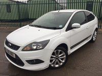 USED 2010 10 FORD FOCUS 1.6 ZETEC S S/S 3d 113 BHP BODYKIT AIR CON ALLOYS MOT 03/18 BODYKIT. STUNNING WHITE WITH BLACK CLOTH SPORTS TRIM. 17 INCH ALLOYS. COLOUR CODED TRIMS. PRIVACY GLASS. BLUETOOTH PREP. AIR CON. R/CD PLAYER. MFSW. MOT 03/19. TEL 01937 849492