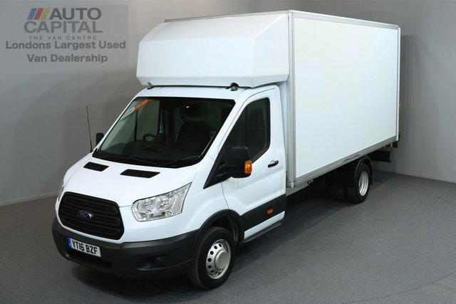 2016 16 FORD TRANSIT 2.2 350 C/C DRW 3d 124 BHP EXTRA LWB REAR TAIL LIFT FITTED LUTON VAN ONE OWNER FROM NEW