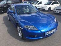 USED 2008 57 MAZDA RX-8 2.6 192PS 4d 189 BHP IN METALLIC BLUE WITH ONLY 58000 MILES  APPROVED CARS ARE PLEASED TO OFFER THIS  MAZDA RX-8 2.6 192PS 4d 189 BHP IN METALLIC BLUE WITH ONLY 58000 MILES,THE CA\RS IN GREAT CONDITION INSIDE AND OUT WITH A CREAM UPGRADED LEATHER INTERIOR,ALLOYS AND MUCH MORE WITH A DOCUMENTED SERVICE HISTORY,A REAL HEAD TURNER BUT DUE TO THE AGE IS BEING OFFERED AS A TRADE CLEARANCE CAR WITH MOT.
