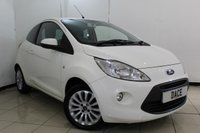 USED 2010 10 FORD KA 1.2 ZETEC 3DR 69 BHP AIR CONDITIONING + RADIO/CD + AUXILIAIRY PORT + ELECTRIC WINDOWS + 15 INCH ALLOY WHEELS