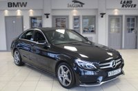 USED 2015 64 MERCEDES-BENZ C CLASS 2.1 C220 BLUETEC AMG LINE 4d 170 BHP FULL MERCEDES BENZ SERVICE HISTORY + FULL BLACK LEATHER SEATS + COMAND SAT NAV + REVERSE CAMERA + BLUETOOTH + DAB RADIO + HEATED FRONT SEATS + £20 ROAD TAX + 18 INCH ALLOYS + CRUISE CONTROL