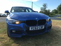 "2012 BMW 3 SERIES 2.0 318D M SPORT estril blue/black leather fbmwsh low miles 19"" alloys  £12495.00"