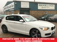 USED 2014 64 BMW 1 SERIES 1.6 116I SPORT 5 Door 135 BHP White with Sports Seats only 23735 miles Fantastic BMW 116i Sport with Bluetooth DAB Radio 50.8MPG Combined