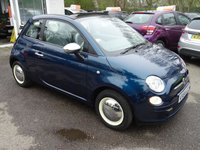 USED 2014 64 FIAT 500 1.2 CONVERTIBLE POP 3d 69 BHP Finished in rare 'Epic Blue' with Retro Moon Trims. Low Mileage, Full Service History + Just Serviced by ourselves, One Lady Owner from new, Minimum 9 months MOT, Great on fuel economy! Only £30 Road Tax! Convertible