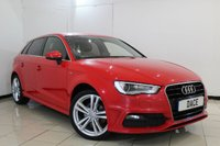USED 2014 14 AUDI A3 1.6 TDI S LINE 5DR AUTOMATIC 104 BHP FULL SERVICE HISTORY + HALF LEATHER SEATS + BLUETOOTH + PARKING SENSOR + MULTI FUNCTION WHEEL + CLIMATE CONTROL + 18 INCH ALLOY WHEELS