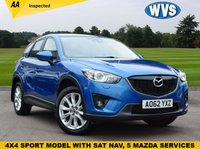 USED 2013 62 MAZDA CX-5 2.2 D SPORT NAV 5d 173 BHP Finished in a gorgeous electric blue metallic with a black leather interior. 5 main dealer services, 2 keys and supplied with  independent AA inspection.