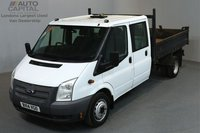 USED 2014 14 FORD TRANSIT 2.2 350 DRW 99 BHP L3 LWB TIPPER ONE OWNER FROM NEW, MOT UNTIL 13/03/2019