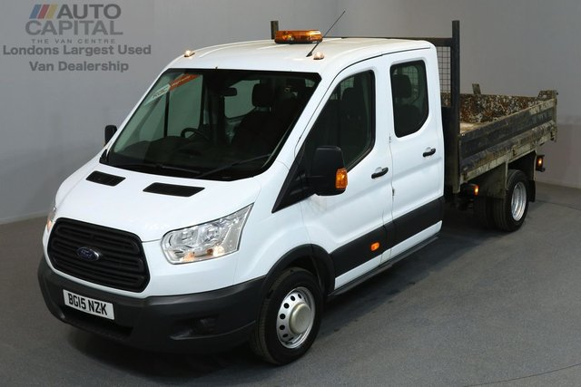 2015 15 FORD TRANSIT 2.2 350 124 BHP L3 LWB TIPPER  ONE OWNER FROM NEW, 7 SEATER DOUBLE CAB TIPPER