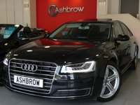 USED 2014 14 AUDI A8 3.0 TDI QUATTRO SPORT EXECUTIVE 4d AUTO 254 S/S UPGRADE ELECTRIC SLIDE & TILT SUNROOF, MMI TOUCH, MMI NAVIGATION PLUS, 20 INCH 5 SEGMENT SPOKE ALLOYS, PRIVACY GLASS, LED MATRIX LIGHTS, DIRECTIONAL SWEEPING INDICATORS, FRONT & REAR VIEW CAMERAS, ELECTRIC TAILGATE, FULL BLACK LEATHER, SPORT SEATS, ELECTRIC MEMORY SEATS, BOSE SOUND SYSTEM, ELECTRIC HEATED FOLDING MIRRORS, LEATHER TIPTRONIC MULTIFUNCTION STEERING WHEEL, CRUISE CONTROL, HEATED FRONT SEATS, DAB, BLUETOOTH, 1 OWNER FROM NEW, FULL AUDI HISTORY