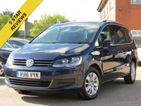 USED 2016 16 VOLKSWAGEN SHARAN 2.0 SE TDI BLUEMOTION TECHNOLOGY DSG 5d AUTO 148 BHP AUTOMATIC, 7 SEATS + MANUFACTURERS WARRANTY TIL MARCH 2019