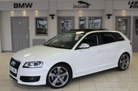 USED 2011 11 AUDI S3 2.0 SPORTBACK TFSI QUATTRO BLACK EDITION 5d 261 BHP FULL BLACK LEATHER SEATS + FULL SERVICE HISTORY + SAT NAV + PANORAMIC SUNROOF + BLUETOOTH + HEATED FRONT SEATS + XENON HEADLIGHTS + 18 INCH ALLOYS