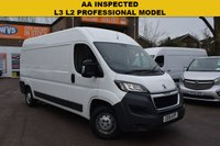 USED 2016 16 PEUGEOT BOXER 2.2 HDI 335 L3H2 PROFESSIONAL P/V 1d 130 BHP A well cared for 2016 Peugeot Boxer 335 2.2hdi L3 H2 PROFESSIONAL 130 (long wheelbase, medium roof) van in white with an independent AA report, service history and 2 keys. BIG SPEC INCLUDES SAT NAV, PARK REVERSE BEEPER, BLUETOOTH, CRUISE CONTROL AND AIR CON.