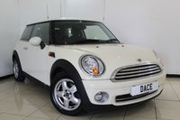 USED 2009 59 MINI HATCH ONE 1.4 ONE 3DR PEPPER PACK 94 BHP MINI SERVICE HISTORY + AIR CONDITIONING + RADIO/CD + AUXILIARY PORT + ELECTRIC WINDOWS + 16 INCH ALLOY WHEELS