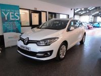 USED 2015 64 RENAULT MEGANE 1.5 DYNAMIQUE TOMTOM ENERGY DCI S/S 5d 110 BHP Supplied with a fuel filter service for its new owner. This Megane Diesel Estate is £0 road tax for 1 year!! It will average 60-70 mpg. It has a February 2019 MOT, will be supplied with 6 months warranty. This Megane is finished in white with Black leather /cloth seats. It is fitted with Renault Tom Tom Satellite Navigation, climate control, start stop/push button, cruise control, led daylights, power steering, remote locking, electric windows and mirrors, air conditioning and more