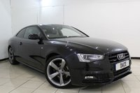USED 2014 64 AUDI A5 2.0 TFSI QUATTRO S LINE BLACK EDITION 2DR 222 BHP FULL SERVICE HISTORY + HEATED LEATHER SEATS + SAT NAVIGATION + PARKING SENSOR + BLUETOOTH + CRUISE CONTROL + CLIMATE CONTROL + 18 INCH ALLOY WHEELS