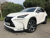 "USED 2015 15 LEXUS NX 2.5 300H F SPORT 5d AUTO 153 BHP PERFECT COLOUR SCHEME FSH WHITE RED LEATHER PAN ROOF NAV 18""ALLOYS"