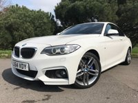 """USED 2014 64 BMW 2 SERIES 2.0 218D M SPORT 2d 141 BHP ONE OWNER IN WHITE WITH FULL SPORTS LEATHER 18"""" ALLOYS FULL BMW SERVICE HISTORY"""