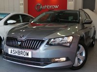 USED 2016 16 SKODA SUPERB ESTATE 2.0 TDI SE BUSINESS 5d 150 S/S SAT NAV, LEATHER ALCANTARA UPHOLSTERY, FRONT & REAR PARKING SENSORS WITH DISPLAY, DAB RADIO, BLUETOOTH PHONE & MUSIC STREAMING, ADAPTIVE CRUISE CONTROL (ACC), AUTO HILL HOLD, AUX & USB INPUTS, LIGHT & RAIN SENSORS, ELECTRIC HEATED FOLDING DOOR MIRRORS, ELECTRIC DRIVER SEAT WITH MEMORY & LUMBAR SUPPORT,  SPORT SEATS, LEATHER MULTIFUNCTION STEERING WHEEL, DUAL CLIMATE AIR CON, DRIVING MODE SELECT, 1 OWNER FROM NEW, SKODA SERVICE HISTORY, £20 ROAD TAX