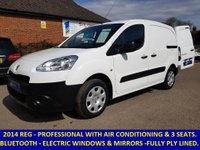 2014 PEUGEOT PARTNER PROFESSIONAL WITH 3 SEATS, AIR-CON & BLUETOOTH STEREO £5995.00