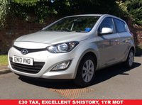 USED 2013 13 HYUNDAI I20 1.2 ACTIVE 5d 84 BHP LOW INSURNACE GROUP 5, £30 ROAD TAX, SERVICE HISTORY, MOT MAR 19,  EXCELLENT CONDITION, ALLOYS, AIR CON, RADIO, E/WINDOWS, R/LOCKING, FREE  WARRANTY, FINANCE AVAILABLE, HPI CLEAR, PART EXCHANGE WELCOME,