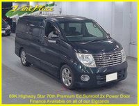 2006 NISSAN ELGRAND 70th Highway Star Premium Edition 2.5 Auto 8 seats, 2 Power Doors, Twin Roof £8000.00