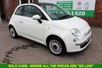 USED 2013 62 FIAT 500 1.2 LOUNGE 3d 69 BHP +Glass ROOF +Bluetooth +Alloys.