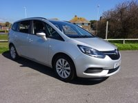 2017 VAUXHALL ZAFIRA TOURER 1.4 TURBO DESIGN  138 BHP SILVER, 1 OWNER, SILVER 7 SEATER £13195.00