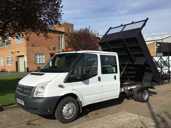 2012 FORD TRANSIT 2.2TDCI T350 LWB TIPPER DOUBLE CAB. 6 SEATS. LOW 45K MILES. £9450.00