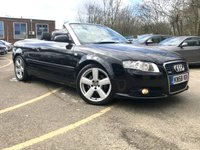 USED 2008 58 AUDI A4 CABRIOLET 2.0 TDI S LINE 2d 140bhp 6 SERVICES ONLY 88K FULL BLACK LEATHER  ONLY 3 FORMER KEEPERS, HUGE MPG, 6 SVCS BLACK LEATHER