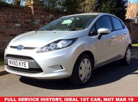 USED 2010 60 FORD FIESTA 1.2 EDGE 5d 81 BHP NEW ARRIVAL, FULL SERVICE HISTORY, MOT APR 19, LOW INSURANCWE GROUP 6,  EXCELLENT CONDITION,  AIR CON,  E/WINDOWS, R/LOCKING, FREE  WARRANTY, FINANCE AVAILABLE, HPI CLEAR, PART EXCHANGE WELCOME,