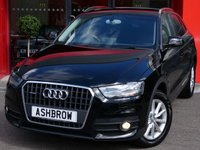 USED 2014 64 AUDI Q3 2.0 TDI QUATTRO SE 5d 177 S/S 1 OWNER FROM NEW, FULL AUDI SERVICE HISTORY, UPGRADE COMFORT PACK (AUTO DIMMING REAR VIEW + CRUISE), UPGRADE PARKING SYSTEM PLUS, UPGRADE ELECTRIC POWER FOLDING HEATED DOOR MIRRORS, UPGRADE PRIVACY GLASS, DAB, BLUETOOTH W/ AUDIO STREAMING, TYRE PRESSURE MONITORING, AUDI MUSIC INTERFACE, LEATHER MULTI FUNCTION STEERING WHEEL, SDS VOICE COMMAND, SP SAVING STEEL SPARE, HALOGEN DRLS, SPEED WARNING, FRONT FOGS, AUTO LIGHTS + WIPERS, SD READER X2, VAT QUALIFYING.