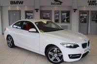 USED 2015 15 BMW 2 SERIES 2.0 220D SPORT 2d 188 BHP FULL RED LEATHER SEATS + FULL BMW SERVICE HISTORY + SAT NAV + SERVICE PACK 16/4/2020 OR 50K + £30 ROAD TAX + BLUETOOTH + REAR PARKING SENSORS + DAB RADIO + 17 INCH ALLOYS + RAIN SENSORS