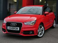 USED 2014 14 AUDI A1 1.6 TDI S LINE 3d 105 S/S £0 TAX, FULL AUDI SERVICE HISTORY, UPGRADE EXTERIOR PAINT FINISH W/ BLACK ROOF CONTRAST LINE, UPGRADE PRIVACY GLASS, BLUETOOTH W/ AUDIO STREAMING, LEATHER 3 SPOKE MULTIFUNCITON SPORTS STEERING WHEEL, LED INTERIOR LIGHTS, (LED FOOTWELL LIGHTS + BACKGROUND LIGHTS INC UNDER DOOR PUDDLE LIGHTS), AUX IN FOR IPOD / MP3, A/C, FRONT FOGS, HALOGEN DRLS, DIS TRIP COMPUTER W/ DIGI SPEED DISPLAY, SPEED WARNING, GEAR RECOMMENDATION, SD CARD READER X1, CD READER, ELECTRIC WINDOWS, ELECTRIC HEATED MIRRORS