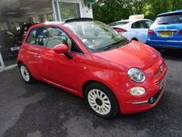 USED 2015 65 FIAT 500 1.2 CONVERTIBLE LOUNGE 3d 69 BHP New Face-lift model finished in Glam Coral Pink with Electric Convertible Beige Roof! Low Mileage, Just Serviced by ourselves, One Previous Owner, Minimum 9 months MOT, Convertible, Great on fuel economy! Only £20 Road Tax! Balance of Fiat Warranty until September 2018