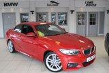 USED 2014 14 BMW 2 SERIES 2.0 220D M SPORT 2d AUTO 181 BHP FULL BLACK LEATHER SEATS + FULL BMW SERVICE HISTORY + SAT NAV + BLUETOOTH + £30 ROAD TAX + XENON HEADLIGHTS + DAB RADIO + REAR PARKING SENSORS + 18 INCH ALLOYS