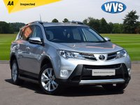 """USED 2014 14 TOYOTA RAV4 2.2 D-4D INVINCIBLE 5d AUTO 150 BHP A 2014 rare diesel automatic 4x4 Toyota RAV4 2.2 148 invincible in silver metallic with factory SAT NAV, 18"""" WHEELS, PARK SENSORS, PRIVACY GLASS AND LEATHER TRIM. Records for 2 main dealer services and 2 keys."""