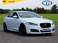 """USED 2013 63 JAGUAR XF 3.0 D V6 S PORTFOLIO 4d AUTO 275 BHP - two tone red/black leather A stunning colour combination in white with 20"""" black gloss alloy wheels and a two tone red and black leather interior. An amazing car with the powerful and economical 275bhp 3.0v6 D engine, priced st just £16999. Optional extras include Meridian sound system upgrade, rear colour reverse camera, blind spot monitor, key less entry and start, sat nav, heated and cooled front seats."""