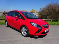 USED 2015 64 VAUXHALL ZAFIRA TOURER 2.0 SRI CDTI  128 BHP, 1 OWNER, FSH, RED, 7 SEATER