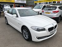 USED 2013 13 BMW 5 SERIES 2.0 520D SE 4 DOOR AUTOMATIC 181 BHP IN WHITE WITH ONLY 71000 MILES  APPROVED CARS ARE PLEASED TO OFFER THIS BMW 5 SERIES 2.0 520D SE 4 DOOR AUTOMATIC 181 BHP IN WHITE WITH ONLY 71000 MILES IN THE BEST COLOUR WHITE WITH A FULL CREAM LEATHER INTERIOR WITH ALL THE SPEC INCLUDING SAT NAV AND A FULL SERVICE HISTORY WITH 4 BMW STAMPS IN THE SERVICE BOOK.