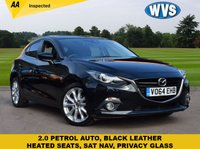 USED 2014 64 MAZDA 3 2.0 SPORT NAV 5d AUTO 118 BHP A rare 2014 Mazda 3 2.0 Sport 5dr SAT NAV model in black with a black full leather sports interior. With service history and 2 keys.