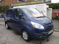 2015 FORD TRANSIT CUSTOM 2.2 TDCI, 290 TURBO DIESEL 125 BHP LIMITED EDITION TOP OF THE RANGE IMPACT BLUE METALLIC   SHORT WHEEL BASE, FULL HISTORY, LOW MILES , AIR CON, ALLOYS, HEATED SEATS SAY AS YOU SPEAK COMMANDS  £11995.00