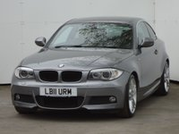 USED 2011 11 BMW 1 SERIES 2.0 120I M SPORT 2d 168 BHP LOW MILEAGE WITH FULL SERVICE HISTORY, EBONY BLACK LEATHER HEATED SEATS, XENON HEADLIGHTS, PARKING AID.