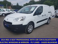 2014 PEUGEOT PARTNER PROFESSIONAL WITH 3 SEATS, AIR-CON & BLUETOOTH STEREO. £5495.00