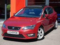 USED 2014 64 SEAT LEON 1.4 TSI FR TECHNOLOGY 5d 150 S/S UPGRADE SLIDE & TILT ELECTRIC PANORAMIC SUN ROOF, UPGRADE TOOL KIT & JACK, UPGRADE SPACE SAVING SPARE WHEEL, SAT NAV, BLUETOOTH PHONE & MUSIC STREAMING, DAB RADIO, LED FRONT & REAR LIGHTS, FRONT & REAR PARKING SYSTEM WITH DISPLAY,  BLACK 1/2 LEATHER INTERIOR, CRUISE CONTROL, DRIVING MODE SELECTION, ELECTRIC HEATED FOLDING MIRRORS, CD HIFI WITH 2x SD CARD READERS, MDI INPUT FOR IPOD / USB DEVICES, DUAL CLIMATE AIR CONDITIONING, 1 OWNER FROM NEW, FULL SEAT SERVICE HISTORY, £20 ROAD TAX